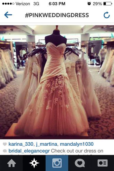 pink dress wedding dress floral
