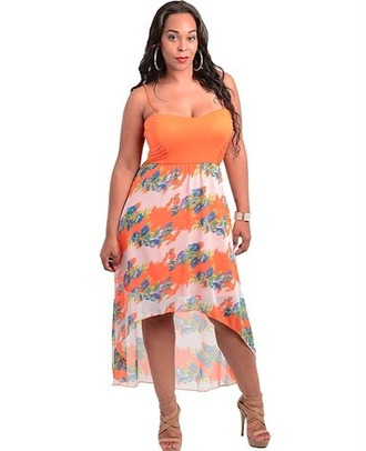 dress plus size maxi dress sexy high low dress spahgetti straps high low skirt floral