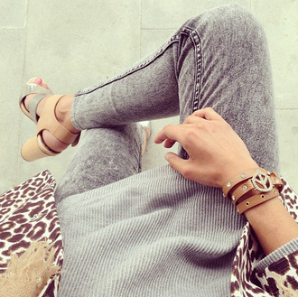 shoes grey panther peace bracelets cute outfit jeans skinny sweater oversized oversized sweater