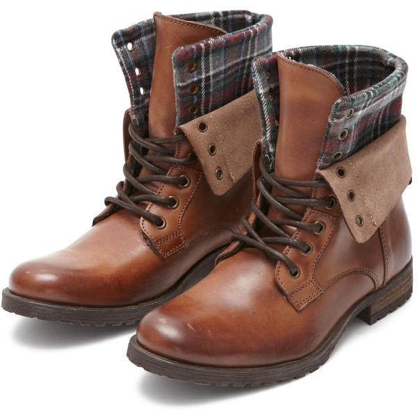 Selected Mary Leather Boot Brown W/Fabric - Polyvore
