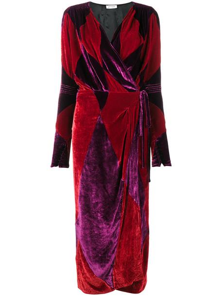 Attico dress wrap dress women silk velvet red