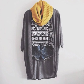 grey scarf yellow elephant cardigan mustard