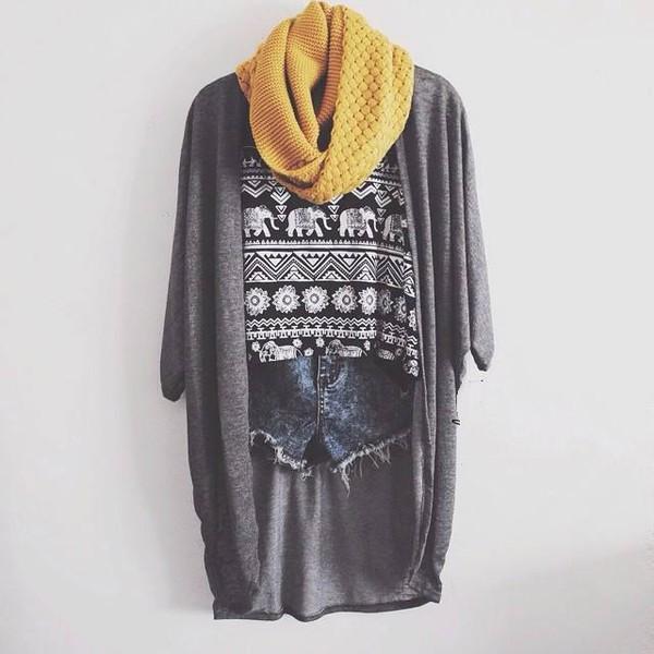 scarf yellow elephant cardigan mustard grey top