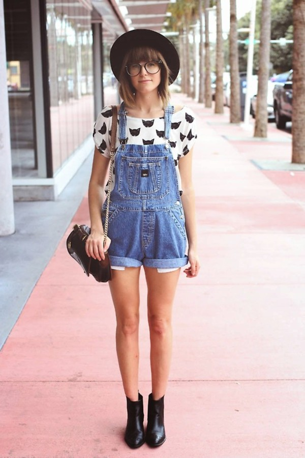 jumpsuit overalls denim cats white black booties hat shirt shoes