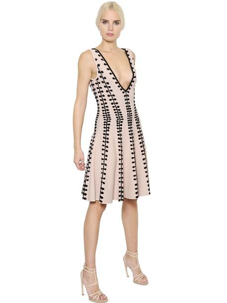 dress jacquard black pink