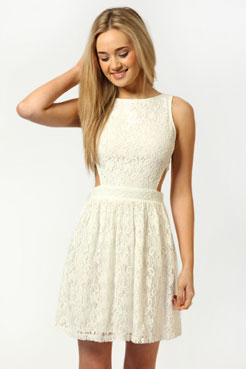 Daisy cut out side lace skater dress at boohoo.com