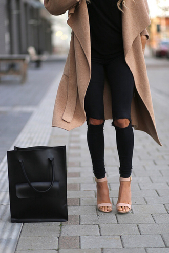 coat black jeans black bag sandal heels camel coat bag shoes pants