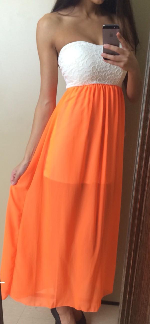 maci dress maxi dress neon dress maxi neon dress party dress casual dress orange dress orange neon orange neon orange dress