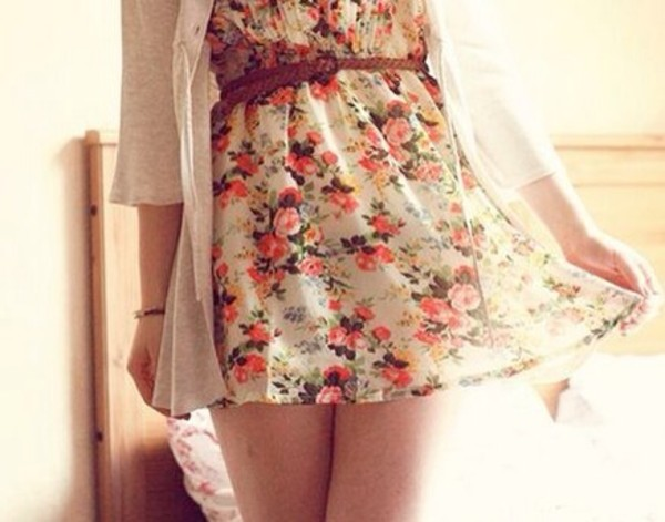 dress coat belt braun cute floral dress vintage cute floral dress flowers braided belt