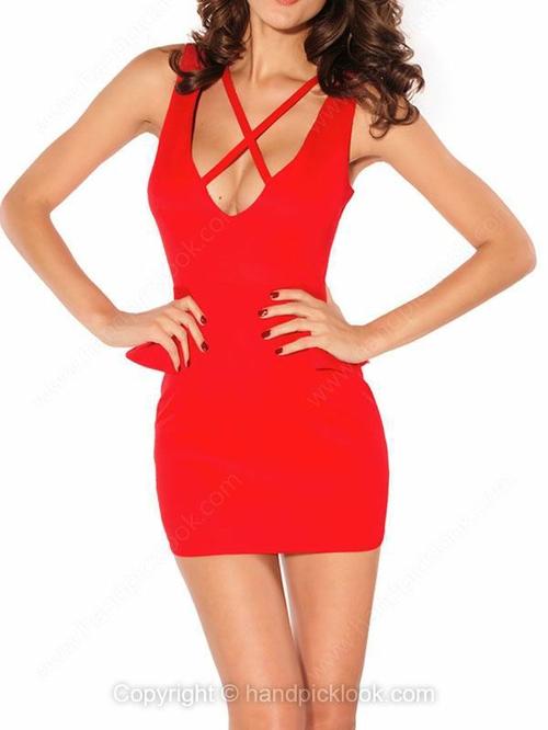 Red Straps Sleeveless Zip Dress - HandpickLook.com