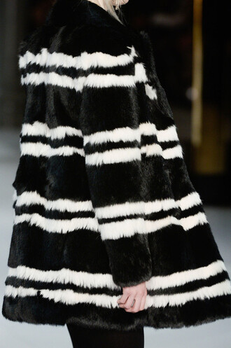 tumblr coat black and white yves saint laurent fur stripes couture