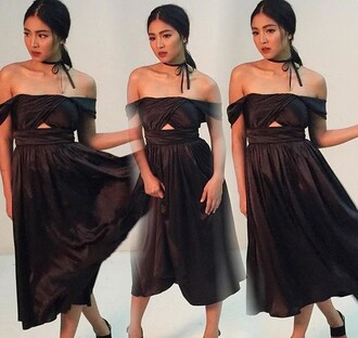 dress nadine lustre filipino black dress black off the shoulder silk silk dress off the shoulder dress asian midi dress
