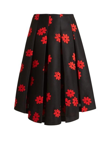Simone Rocha skirt midi skirt embroidered midi floral neoprene black red