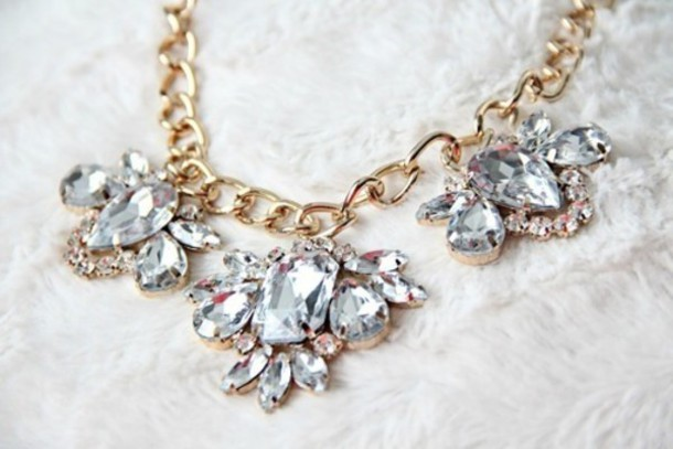 jewels collar necklace diamonds gold crytals