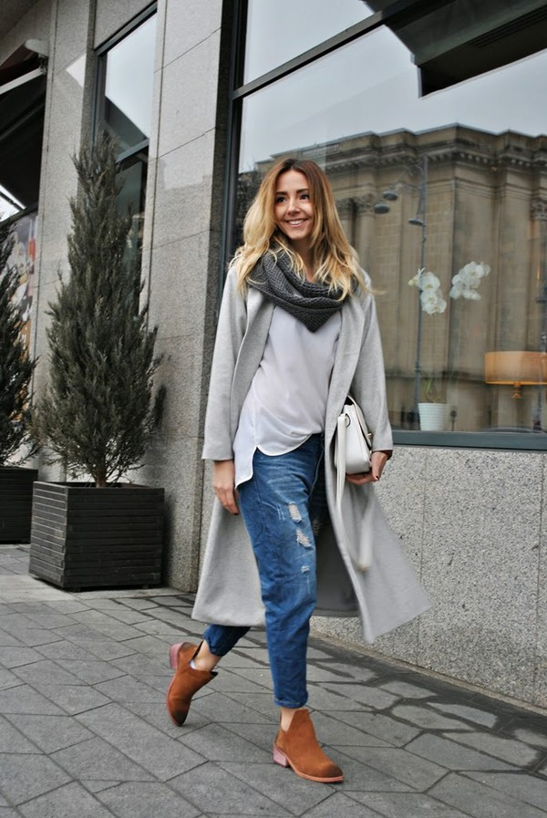 Grey Long Sleeve Lapel Pockets Oversized Coat - Sheinside.com
