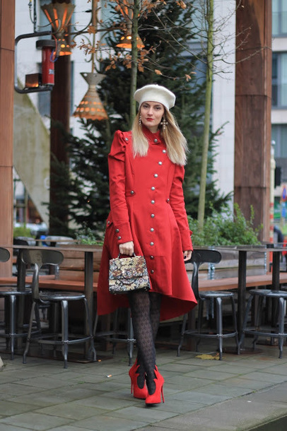 from brussels with love blogger dress coat sweater tights shoes bag red coat winter outfits beret booties red boots