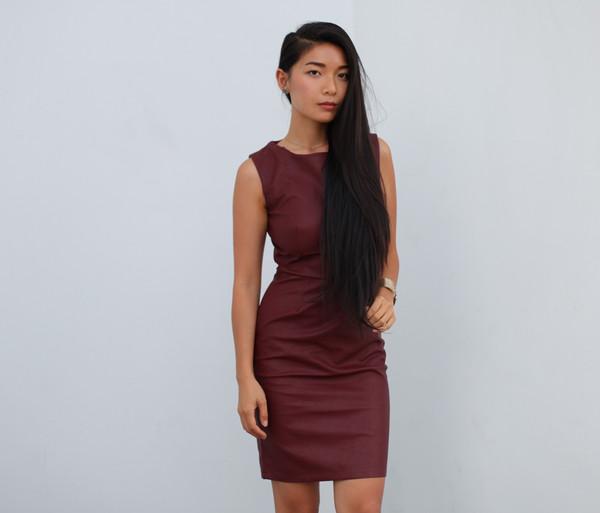 dress leather red dress burgundy dress