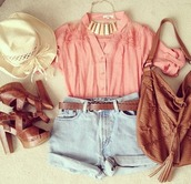 blouse,bag,shirt,pink,jewels,belt,shoes,shorts,hat,shirt pink necklace,hat shoes bag,denim,cute,cowgirl,jeans,brown,High waisted shorts,purse,heels,belr,jewelry,boho,hipster,tribal pattern,alternative,underwear,hippie,summer outfits,crop tops,cute bag,brown bag,style