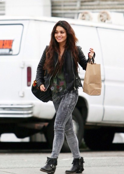 black jacket perfecto jeans grey vanessa hudgens hudgens couple austin smile flowers shoes coat