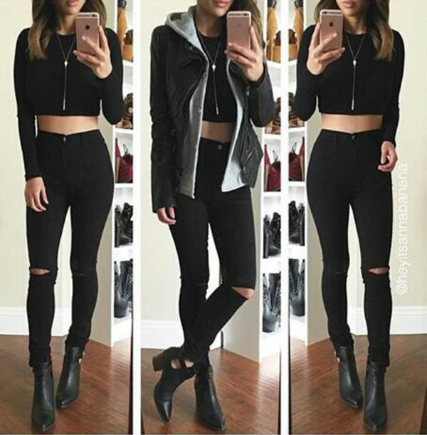 blouse black outfit blackshirt black jeans black jeans