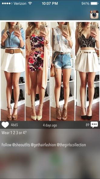 shorts skirt belt jeans flowered shorts flowers white t-shirt blouse bralette bra black white brown high heels brown