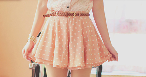 skirt dots orange