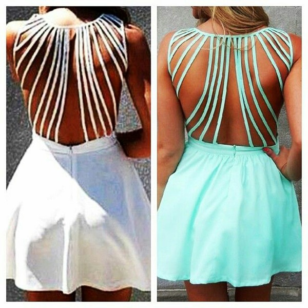 dress short dress flowy dress mint open back