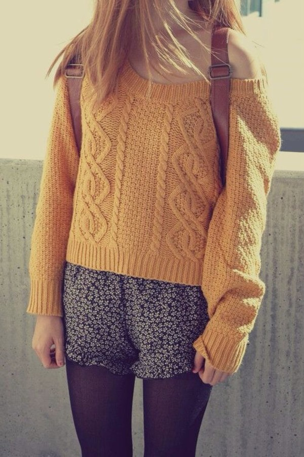 Sweater: yellow, back to school, fall colors, floral, lemongrass ...