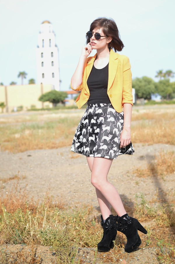 a fashion nerd skirt top jacket sunglasses shoes