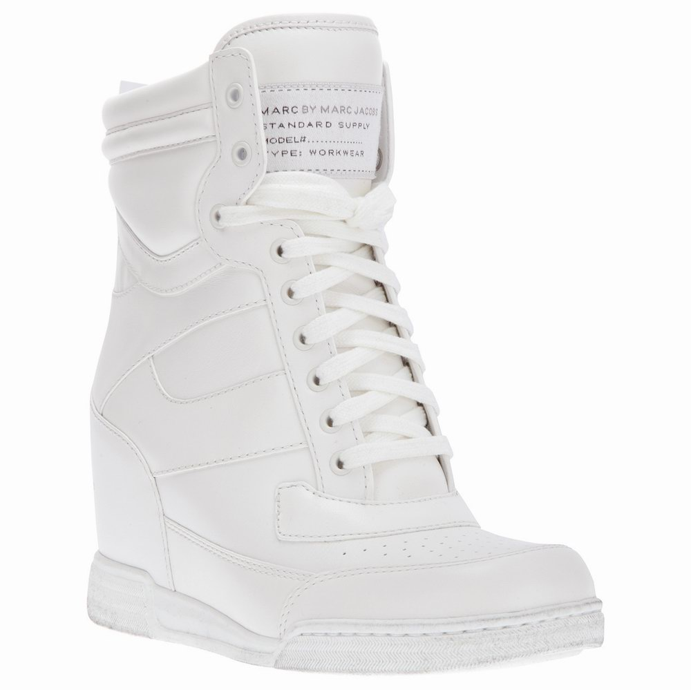 Marc by marc jacobs leather wedge sneakers australia white outlet sale cheap