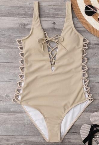swimwear girly nude lace up one piece swimsuit one piece bodysuit
