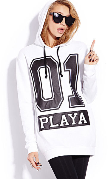 Forever 21 Black White Logo 01 PLAYA Sports Hoodie Sweater Varsity Style | eBay