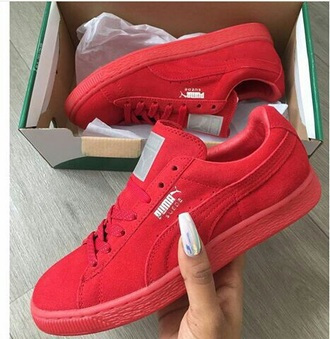 shoes puma red suede