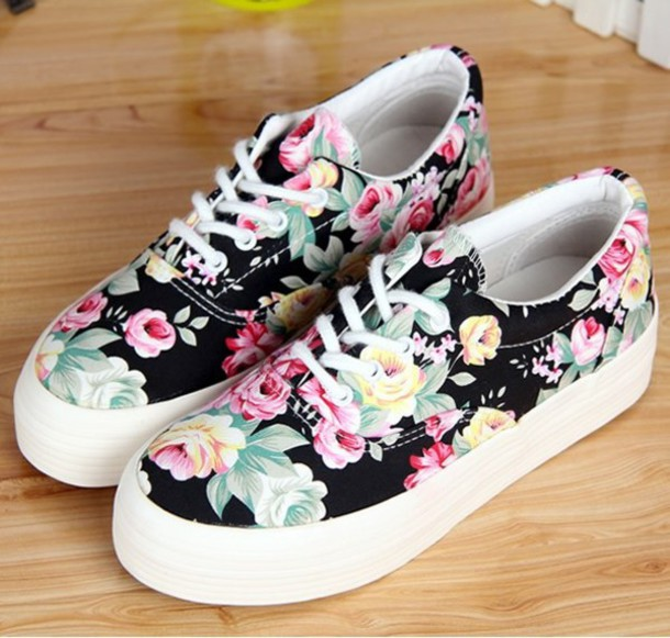 shoes flowers floral sneakers cute girly