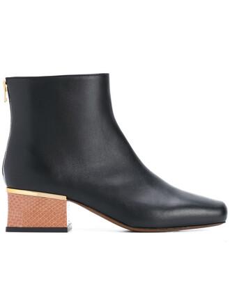 heel women boots heel boots leather black shoes