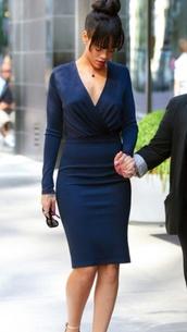 dress,navy,rihanna,low cut dress,tight,tailoring,wrap dress
