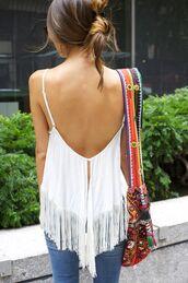 shirt,fringes,boho,bag,blouse,coachella,backless,tank top,white,crochet
