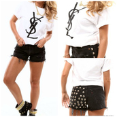 t-shirt,ysl,ysl tshirt,spring outfits,vintage,collage vintage,shorts,black shorts,shoes