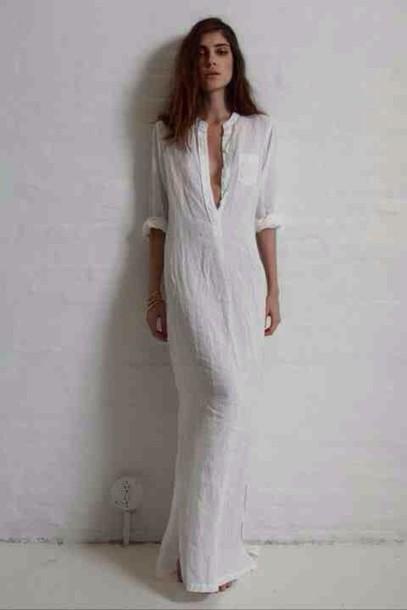 dress linen maxi white dress maxi dress whitr dress boho night dress long summer
