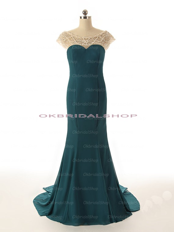 Long prom dress, cap sleeve prom dress, backless prom dress, elegant prom dress, 2015 prom dresses, unique prom dress, cheap prom dress