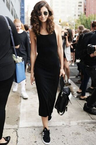 shoes round glasses long black dress black backpack adidas shoes blogger
