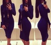 dress,blue dress,luxury,jewels,black dress,long sleeve dress,blue,sexy,open back,chique,prom dress,dark blue,love more,fashionholic,pretty,cute outfits,classy dress,long blue dress,long dress