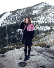 tsangtastic,blogger,faux fur coat,winter coat,black boots,sweater,coat,skirt,shoes,black fur coat