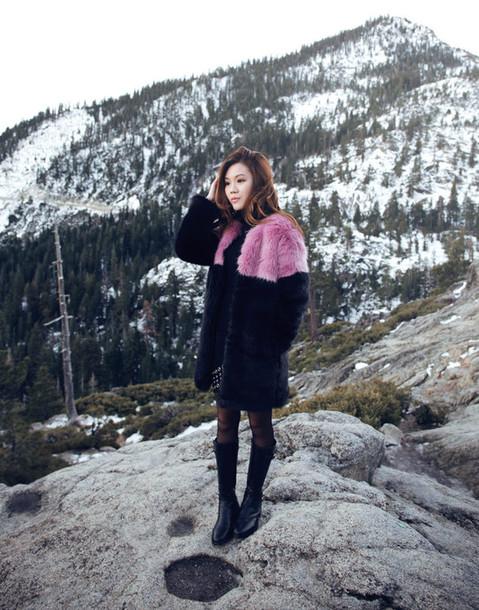 tsangtastic blogger faux fur coat winter coat black boots sweater coat skirt shoes