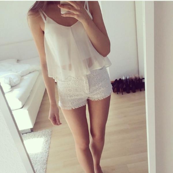 blouse summer shirt lace shorts shorts
