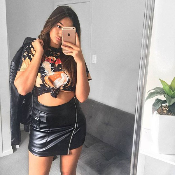 skirt leather graphic tee crop tops leather skirt zipped skirt