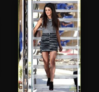 skirt shenae grimes grey skirt striped skirt top grey top