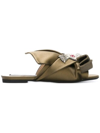 bow women sandals flat sandals leather green satin shoes