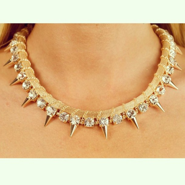 jewels sparkle spikes chain jewelry gold gold sequins necklace diamonds diamond supply co. lovely pepa
