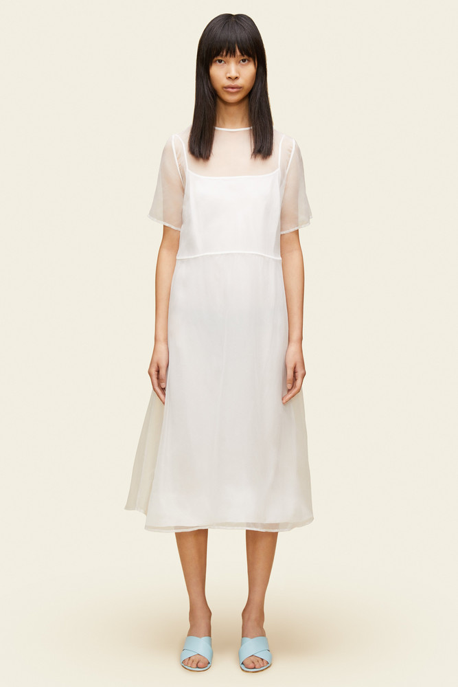 Mansur Gavriel Chiffon Short Sleeve Voluminous Dress - White
